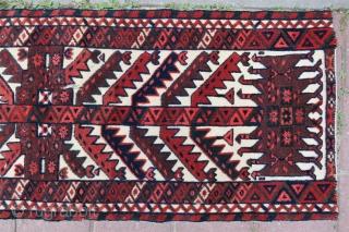 Turkoman tent band fragman very nice colors size 1,10 x 41 cm Circa 1900