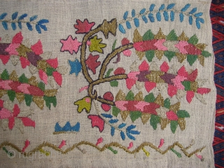 Ottoman Towel ( Peshker) wonderful colours nd excellent condition gold and thread and silk on hand made linen Circa 1900
