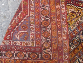Antique Qashgai rug wonderful colours and nice condition, repaired Circa 1900