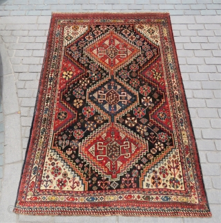 Persian Khamseh rug wonderful colors all original and amazing wool Circa 1900