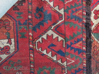 Turkoman Gulli gol ersari fragment amazing colors and very old and dragon border  Circa 1840-1850