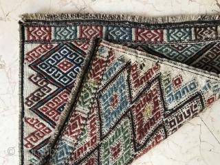 Caucasian Werne technique bag face, wonderful colours and excellent condition. Size: 50x50 cm Circa: 1905-1910