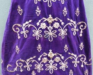 Antique Ottoman silk gold and thread wedding dress wonderful purple sill velvet Circa 1880-1890 (Bursa work )