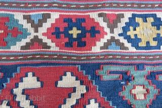 Caucassian mafrash kilim panel Shirvan area and very fine work amazing colors size 1,00x45 cm Circa 1860-1870