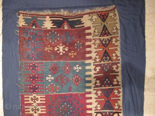 Antique Anatolian Kilim Fragment all colours are natural and wonderful Circa 1850