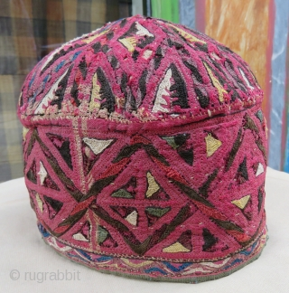 Turkoman hat wonderful colors and very good condition all original Circa 1880
