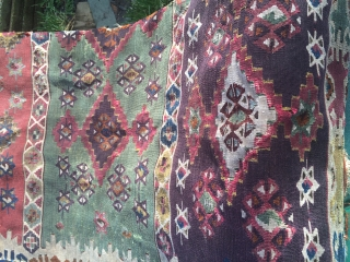 Antique anatolian kilim fragmented 