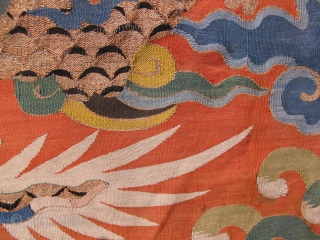 early colorfull  kesi fragment. 17th century, ca. 50x30cm. mounted on linen.