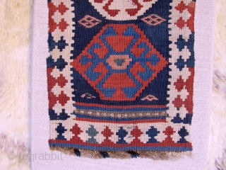 Unusual small veramin kilim, 19th century, ca. 50c30cm. mounted on linen