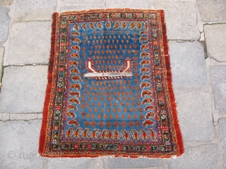 Lightblue Chamseh saddle, 19th century, great dyes and quality, fine weave. A velvety example.