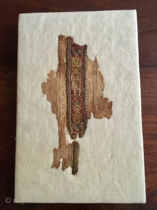 Coptic textile, polychrome wool and linen, 3rd the 6th . Century. Mounted on linen stretcher 360mm x 230mm. Textile is about 10 inches top to bottom.