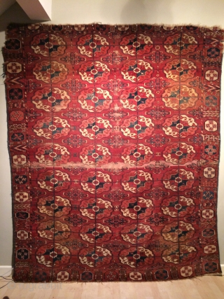 "Very early and beautiful Tekke main carpet, 18th Century, with 4 by 9 gull design measuring 6'3"" x 7'9"" 192cms x 237cms :)"