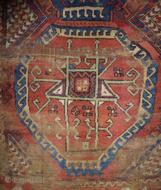 "Yörük rug fragment Hasandag – Karacadag, Konya/Aksaray area C. Anatolia Circa 1800   155 x 210 cm mounted on cotton fabric. Some worn parts as seen, some small repairs. See ""Orient Stars"" Plate 143, page 217. More  ..."