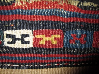 Khorassan half saddlebag 19th cent.  Front 43x51 cm, back same size.  All wool with absolute briliant colors. Slit kilim technic.  Reduced as seen on photos. This was done before I bought it.  ...