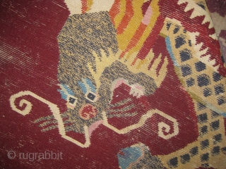 Old Double dragon rug measuring 7.5ft x 5ft there's some minor repair which needs to be done.