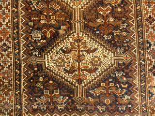 "Antique Persian Kahmseh Chicken Rug - Size: 3'10"" x 5'3″"