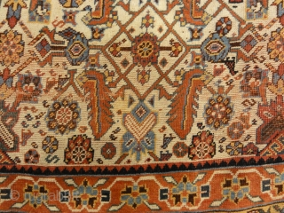 """Rare Antique Qashqai with Ivory Background - Size: 4 x 6'10"""""""
