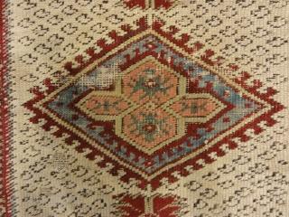 "Antique Ghiordes Rug Circa 17th Century 3'10"" x 5′"