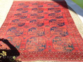 Antique Ersari, great red, nice yellows, blues, greens, burgandy. The rug is complete, but has some visible wear. Its a nice square size that measures 6'10'' x 8'6''Hard to photograph but the  ...