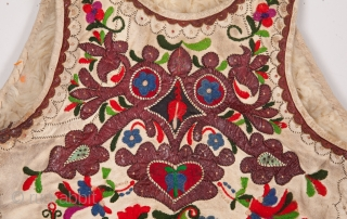 Hungarian Sheepskin Vest with embroidery and leather applique on