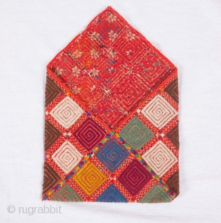 Turkmen Yomud Embroidered Utility Bag  21 x 22 cm / 8.27 x 8.66 inches (Flap closed )