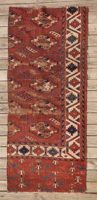 Turkmen Yomud Chuval Gul main Rug fragment 64 x 150 cm / 2'1'' x 4'11''