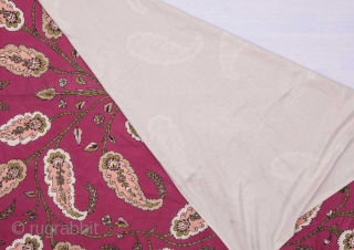 Anatolian Block Printed Cotton Blanket Top 185 x 214 cm / 6'0'' x 7'0''