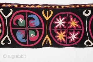 Kyrgyz Embroidery Fragment, silk embroidery on silk velvet background 23 x 126 cm / 9.0'' x 49.6''