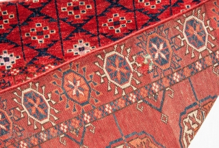 Turkmen Tekke Wedding Rug with silk highlights ( needs a bath ) 103 x 105 cm / 40 x 41 inches