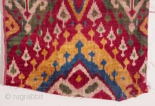 Uzbek Silk Velvet Ikat 32 x 33 cm / 12.6 x 12.99 inches