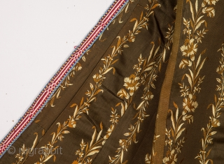 Central Asian Tajik Silk Chapan with great ikat facing a nice Russian Cotton Print