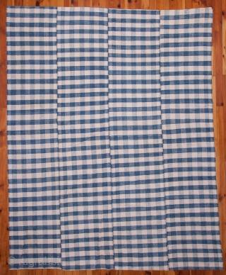 Vintage All Cotton Indigo Anatolian Cover 233 x 295 cm / 7'7'' x 9'8''