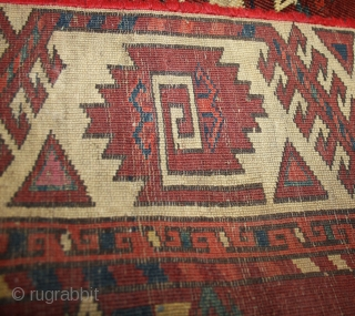 Early turkmen maincarpet, before 1800,open right, in as found condition, silk highlights size: 215x192cm