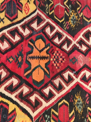 Kilim Turkey or Caucasus, requires restoration. 120 X320 cm.