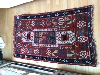 Pretty little Sewan Kazak. Dated 1311? Sides and ends need some work, but all there. Great borders and colors, though red at one end is iffy. Size: 3ft x 5.5ft