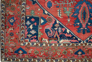 Remarkable 19th Century antique Serapi carpet 443x295cm. it is in very good condition. Couple of cm each end rewoven expertly and small repairs in the field which cannot be seen.  More Info:   ...