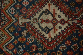 M66 Qashqai 159x119, Circa 1910, very pretty light blue antique Qashqai. The end has been rewoven expertly, as seen on the image and small areas of low pile, as shown in the  ...