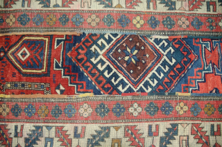Antique Kazak rug 260x136cm. Mehrab design in need of a little TLC as shown in the images.
