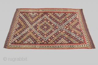 13085, 264x171cm. Circa 1880. Decorative antique Bakhtiar kilim. It is difficult to find Bakhtiar kilims in these dimensions, as like most persian kilims the bigger sizes are usually long and narrow. The  ...