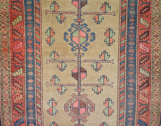 Striking antique Kordi rug from West of Iran. The very refined and good balance of colour in addition to its charming open design makes this piece special. The camel coloured background is  ...