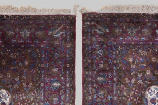 Pair of Antique Silk Kashan Rugs 201x130cm and 198x130cm, Second half of 19th Century. Very fine, wonderful weave. It is rare to find silk Kashans as a pair let alone this old.  ...