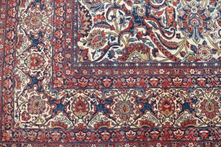 "M76 Kashan Dabir 364x271cm Circa 1930. A fabulous example of finest Kashan workmanship from the famous ""Dabir"" workshop. Wonderful rich colours and design, high quality wool and fine weaving, with very good  ..."
