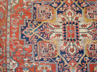 Antique Serapi Carpet with wonderful saturated colours and in very good condition. A little bit of loss to one end and some low areas as shown in the images. 394x293cm