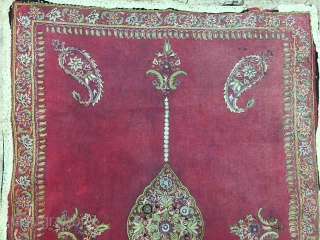 Antique Persian Rashti Doozi with wonderful intricate work in need of TLC. 83x59cm