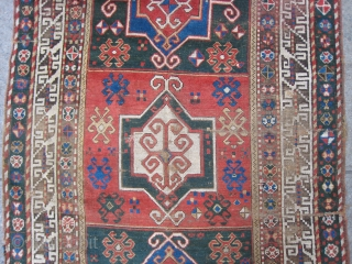 Old Kazak Rug with 3 Medallions and couple bad repairs