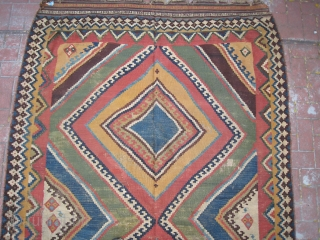 Old Quashquai Kilim with Light Blue