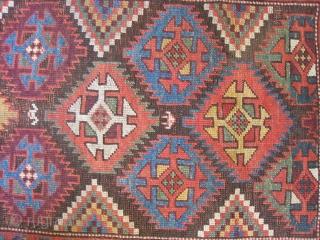 Kurd Long Rug with Ashiks, slightly trapezoidal