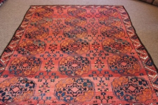 Lovely Old M.A.D. Ersari rug c1880 size 2.40 x 2.07m. Some restoration has been done on this piece and it has also been deep cleaned.