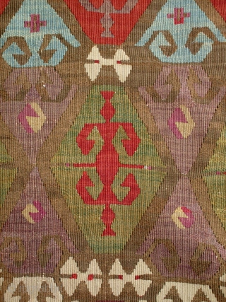 RARE ANATOLIAN KILIM WITH ALL GOOD COLORS AND IN GREAT SHAPE, FIRST HALF OF THE 19TH CENTURY, 380cm x 184cm,,