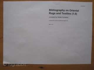Book - New Bibliography on Oriental Rugs and Textiles 2017
